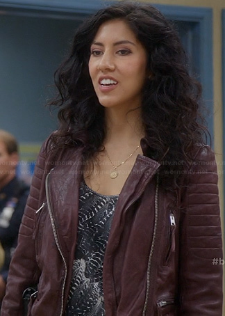 Rosa's black feather print top and burgundy leather jacket on Brooklyn Nine Nine