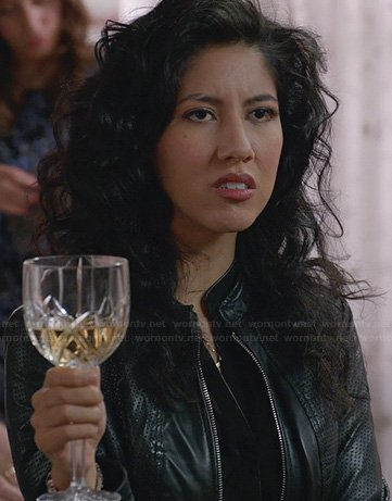 Rosa's black perforated leather jacket at Thanksgiving on Brooklyn 99