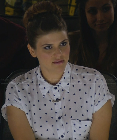 Sadie's white polka dot shirt with tie front on Awkward
