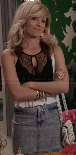 Samantha's black lace cutout top on The Carrie Diaries