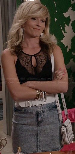 Samantha's black lace keyhole top and denim skirt on The Carrie Diaries