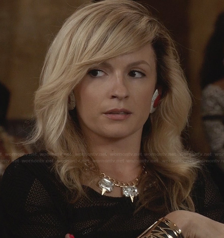 Samantha's black mesh crop top and crystal spike necklace on The Carrie Diaries