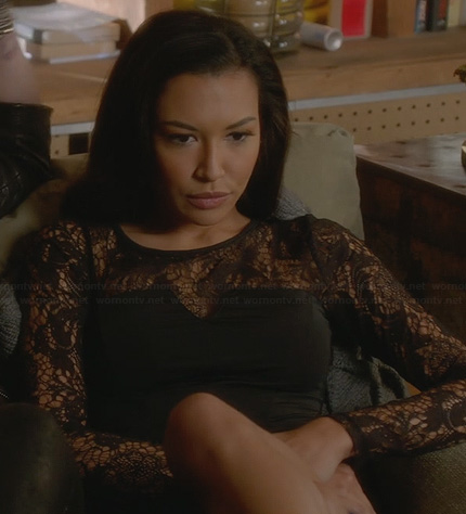 Santana's black lace long sleeve top on Glee