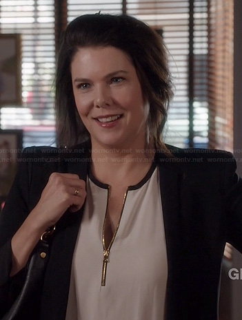 Sarah's black and white zip front top on Parenthood