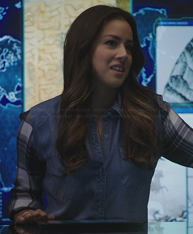 Skye's chambray shirt with plaid sleeves on Agents of SHIELD