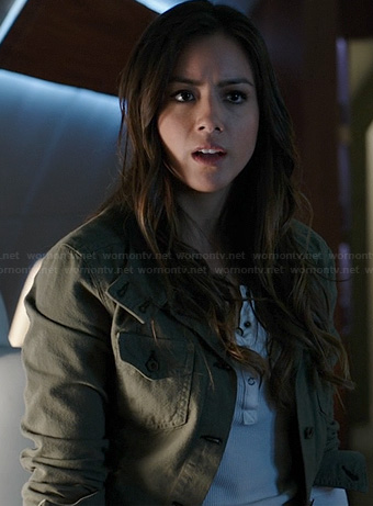 Skye's white henley tee and green jacket on Agents of SHIELD