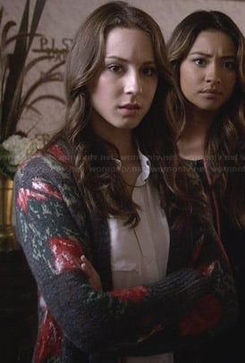 Spencer's grey rose print cardigan on Pretty Little Liars