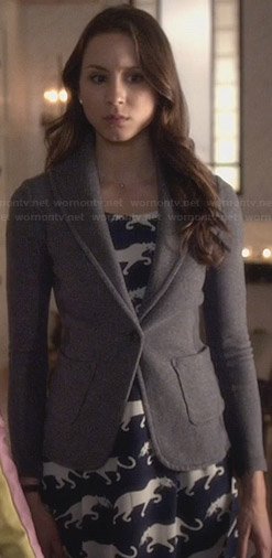 Spencer's blue panther print dress and grey blazer on PLL