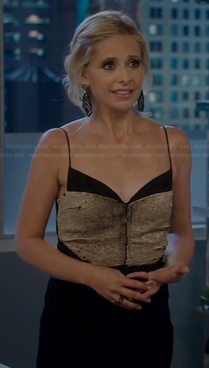 Sydney's black sequin dress on The Crazy Ones