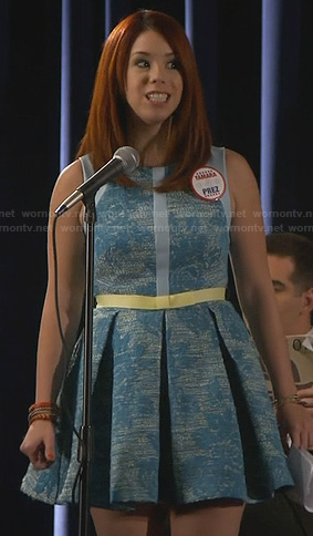 Tamara's blue tweed fit and flare dress on Awkward