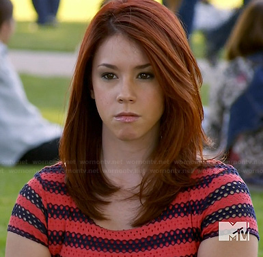 Tamara's red and navy striped dress on Awkward