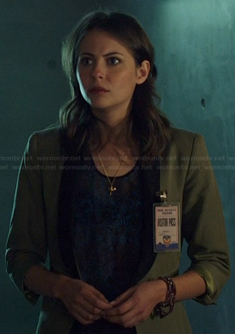 Thea's olive green blazer on Arrow