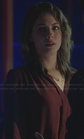 Thea's burgundy dress on Arrow