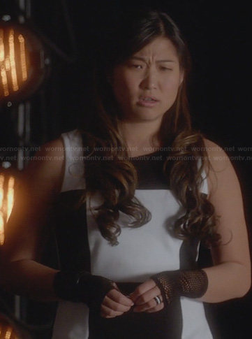 Tina's black and white checkerboard dress on Glee