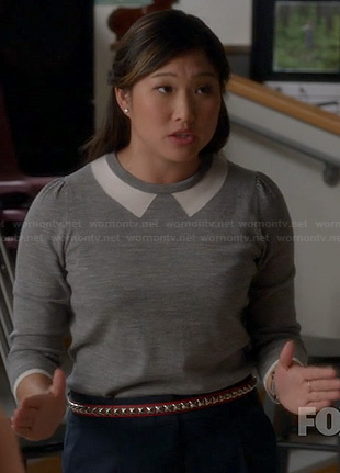 Tina's grey and white collared sweater on Glee