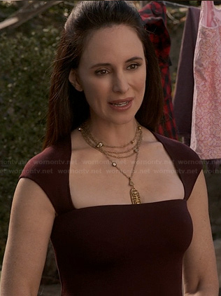 Victoria's burgundy square neckline dress on Revenge