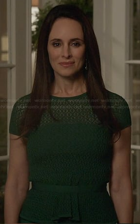 Victoria's green pointelle lace peplum dress on Revenge