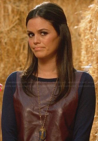 Zoe's burgundy and navy leather front sweater on Hart of Dixie