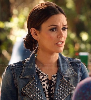 Zoe's black and white printed top and studded denim jacket on Hart of Dixie