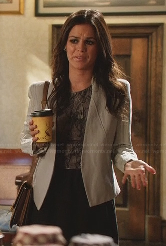 Zoe's black lace dress, grey jacket and feather necklace on Hart of Dixie