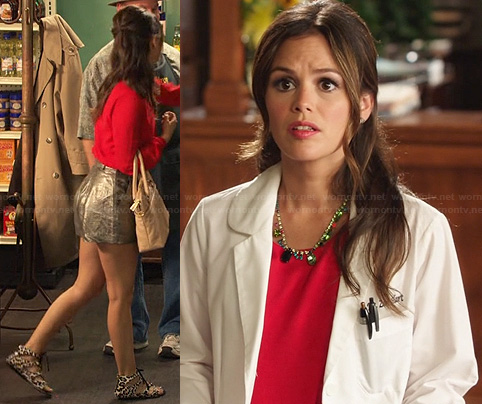 Zoe's leopard print lace up sandals, metallic shorts and red blouse on Hart of Dixie