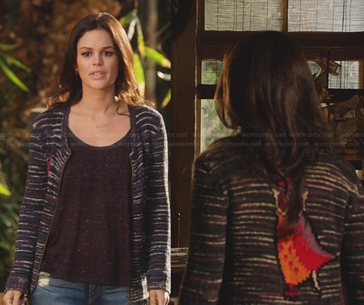 Zoe's owl cardigan and leather trim tank top on Hart of Dixie