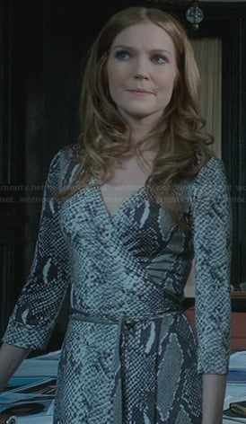 Abby's snake print wrap dress on Scandal