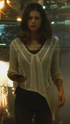 Alex's white mesh panel asymmetric sweater on Nikita