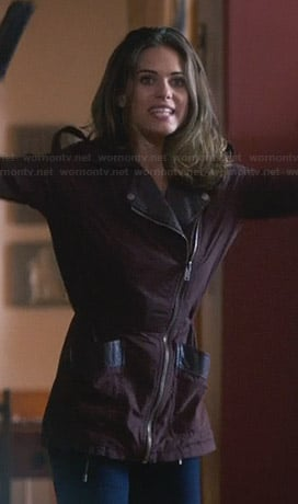 Alex's burgundy leather trim jacket on Nikita