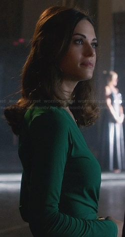 Alex's green long-sleeved wrap dress on Nikita