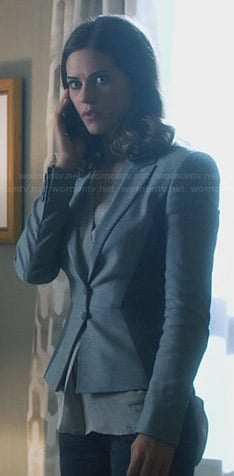 Alex's grey two tone blazer on Nikita