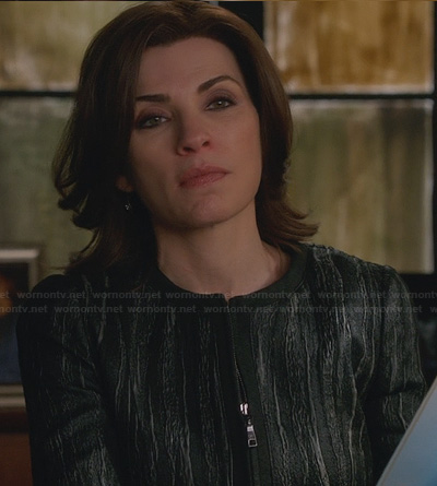 Alicia's black leather textured jacket on The Good Wife