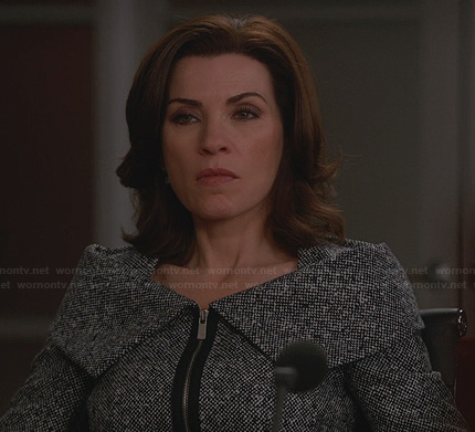 Alicia's grey tweed jacket with foldover collar on The Good Wife