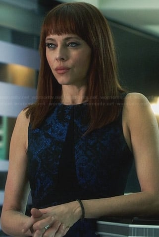 Amanda's blue and black jacquard dress on Nikita