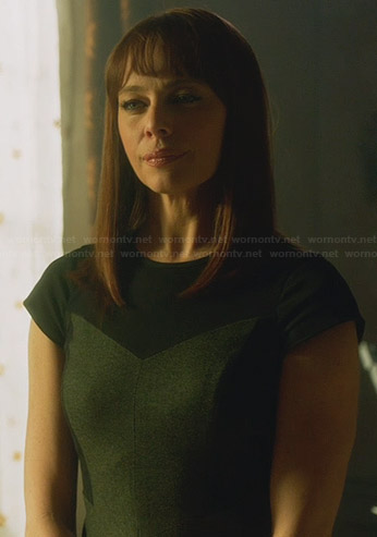 Amanda's grey and black colorblock cap sleeve dress on Nikita