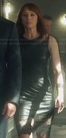 Amanda's leather lace-trim dress on Nikita