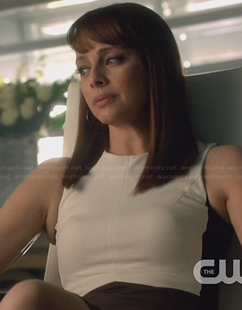 Amanda's white colorblock dress on Nikita