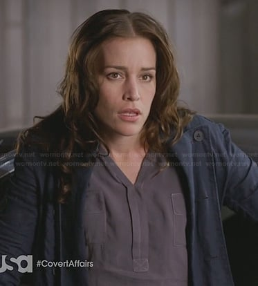 Annie's purple shirt and navy blue trench coat on Covert Affairs