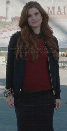 Ariel's burgundy sweater with leather collar and check skirt on Once Upon a Time