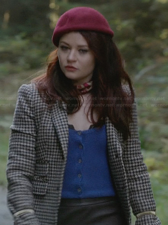 Belle's brown checked blazer with blue leather collar and red bow beret on Once Upon a Time