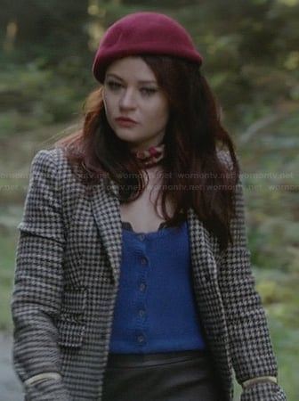 Belle's check blazer with blue leather collar on OUAT