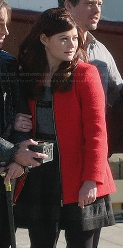 Belle's grey lace striped top, red coat and grey striped skirt on Once Upon a Time