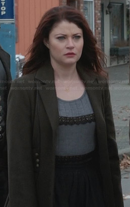 Belle's green coat and grey lace trim top on Once Upon a Time