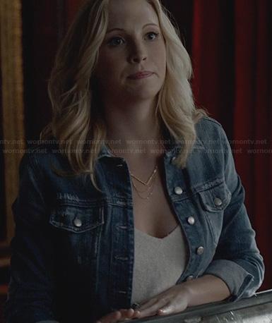 Caroline's denim jacket and chevron chain necklace on The Vampire Diaries