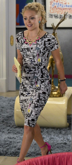 Carrie's black and white printed dress on The Carrie Diaries