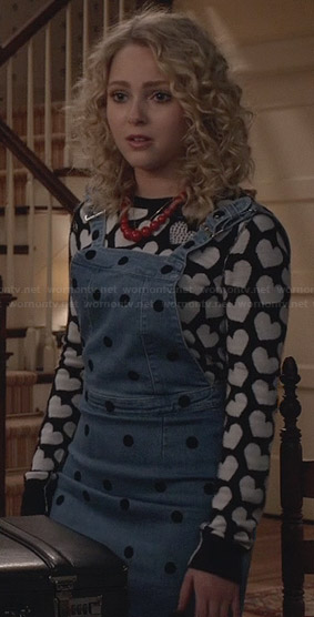 Carrie's heart print sweater and denim polka dot overall dress on The Carrie Diaries