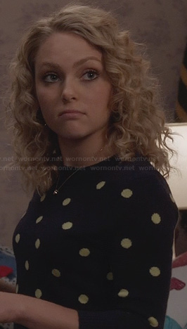 Carrie's navy sweater with yellow polka dots on The Carrie Diaries