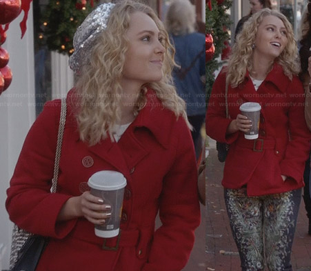 Carrie's red belted coat, sequin beret and floral jeans on The Carrie Diaries