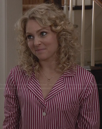 Carrie's red striped sleepshirt on The Carrie Diaries
