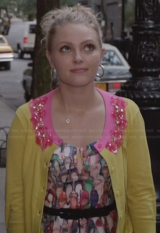 Carrie's shoe print dress and yellow and pink embellished cardigan on The Carrie Diaries